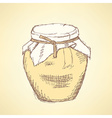 Sketch honey jar in vintage style vector