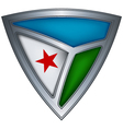 Steel shield with flag djibouti vector