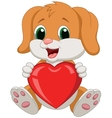Dog cartoon holding red heart vector