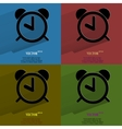 Color set alarm clock flat modern web button with vector