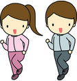 Jogging boy and girl vector