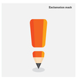 Pencil exclamation mark on background vector