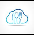 Label for restaurant with kitchen utensils vector