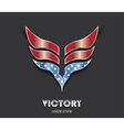Abstract victory wings in color of american flag vector