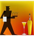Art deco cocktail waiter vector