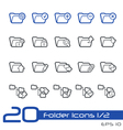 Folder icons outline series vector