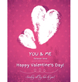 Pink background with two valentine hearts vector