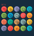 Round thin icon with shadow set 6 vector