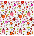 Seamless pattern with ladybirds and leaves vector