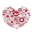 Tea with sweets ornamental heart vector