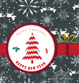 Vintage retro christmas label with tree vector