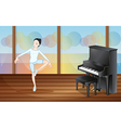 A ballet dancer inside the studio with a piano vector