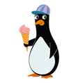 Penguin and ice cream vector