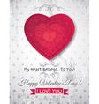 Grey grunge background with red valentine heart vector
