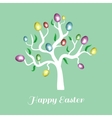 Easter tree white holiday card blue vector