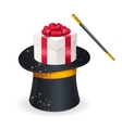 Magic hat and gift box present concept vector