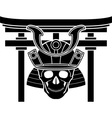 Skull of samurai and torii gate vector