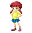 An angry young girl vector