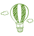 A green hot air balloon vector