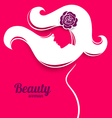 Applique background with beautiful girl silhouette vector