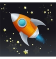 Comic cartoon rocket space ship vector