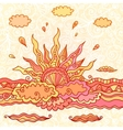 Ornate doodle rising sun vector
