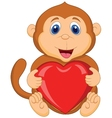 Cartoon monkey holding red heart vector