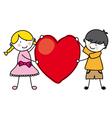 Children holding a heart vector