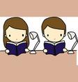 Reading boy and girl vector