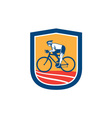 Cyclist riding bicycle cycling side view retro vector