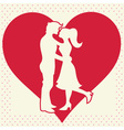 Romantic valentine lovers silhouette vector