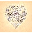 Floral doodle heart of flowers leaves ladybug vector