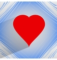 Red heart web icon on a flat geometric abstract vector