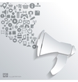 Loudspeaker icon flat abstract background with vector