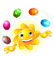 Cute easter sun juggling vector