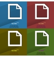Color set blank paper flat modern web button with vector