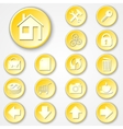Abstract yellow round paper icon set vector