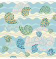 background with sea shells and waves vector