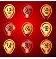 Discount sale labels set in flames - fire vector