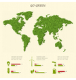 Stylized world map with eco infographic elements vector