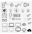 Hand draw doodle icons concept internet work vector