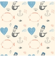 Ornament seamless cute sea objects collection vector