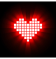 Shining pixel heart for valentines day designs vector