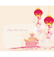 Chinese new year card - traditional lanterns and vector