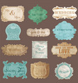 Vintage paper wedding frame collection vector