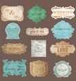Vintage paper wedding frame collection vector