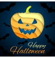 Happy halloween card paper pumpkin on dark vector