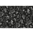 Hand drawn new year seamless pattern blackboard vector