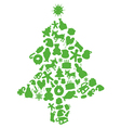 Christmas tree made by items silhouettes vector