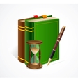 Old book and sand glass pen vector